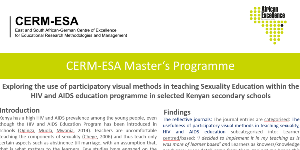 Poster – CERM-ESA | East and South African-German Centre of